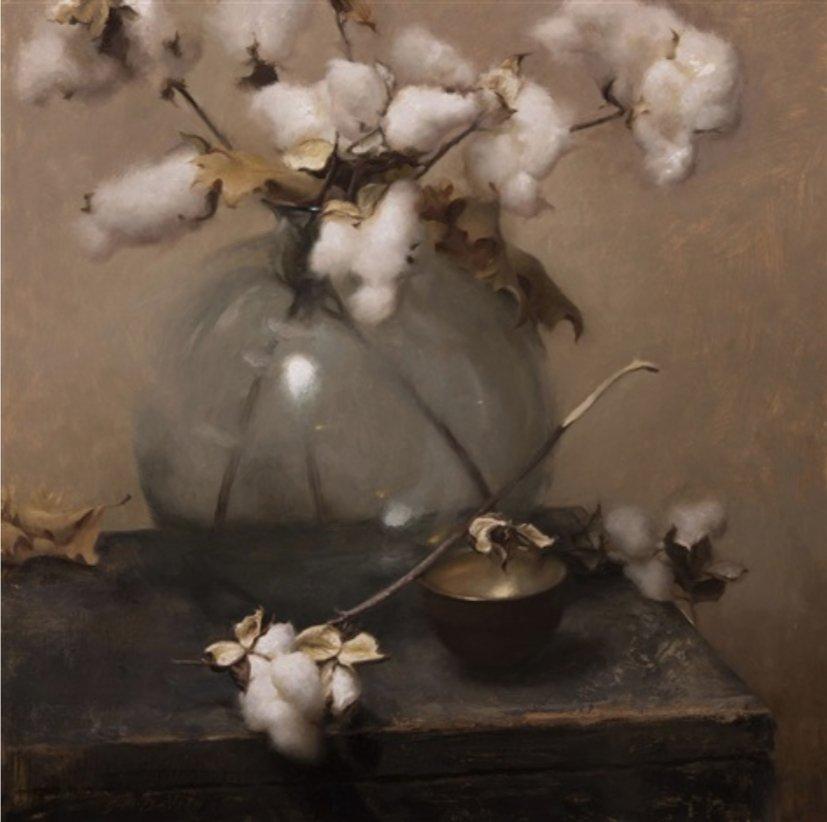 Grace Devito, Cotton, Oil on canvas, 20 x 20 in. Susan Powell Gallery