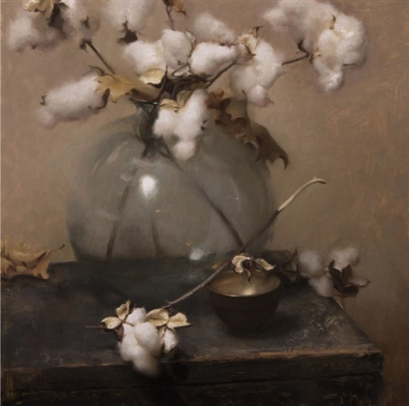 Grace Devito, Cotton, Oil on canvas, 20 x 20 in. Susan Powell Gallery