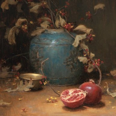 Christopher Gallego Blog   Featured Artist: Grace Mehan Devito   Image: Pomegranates and Vines