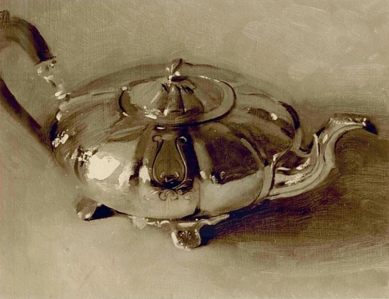 Christopher Gallego: Teapot, 2007, oil on board, 9 x 12 in.