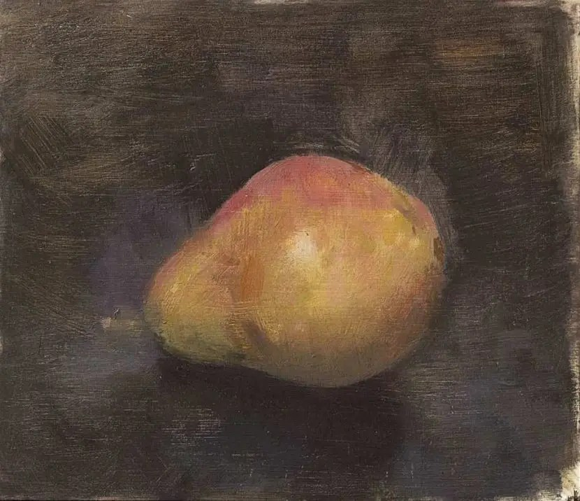 Christopher Gallego: Red Bartlett Pear, Oil on Board, 6 x 7 in.