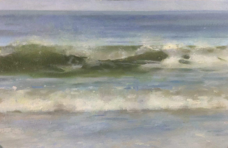 Artist: Christpher Gallego, Ocean City Waves, 2020, Oil on Wood Panel, 6 x 12 in