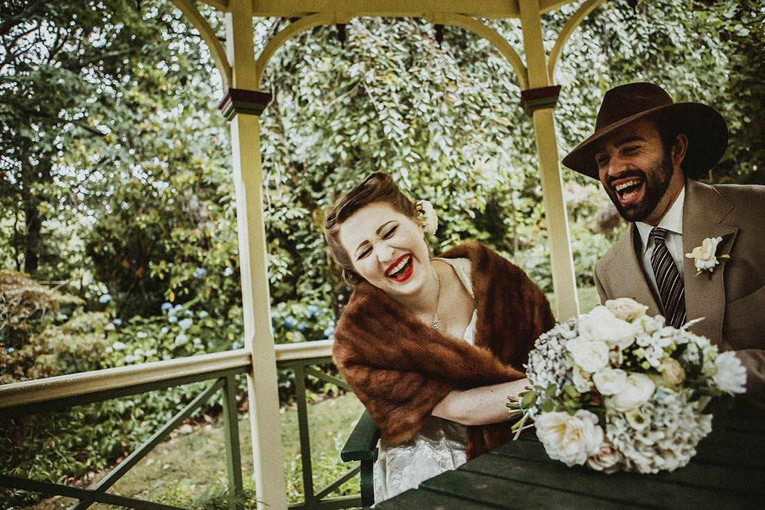 Laughing Wedding Photography in a Garden
