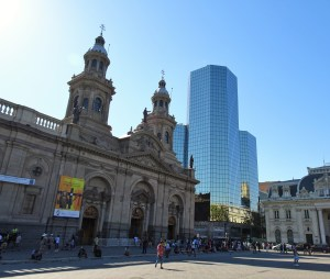 The old and the new in downtown Santiago