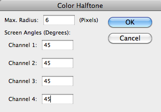 screen shot of Color Halftone window with all channels at 45 degrees