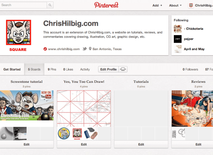 Screenshot of the official ChrisHilbig.com Pinterest page.