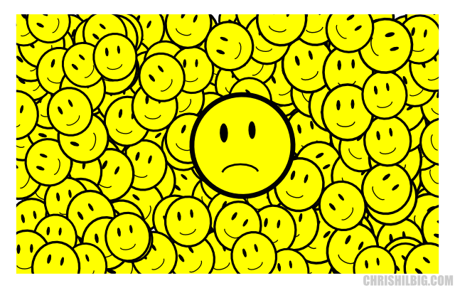 Unhappy face bigger than smilies