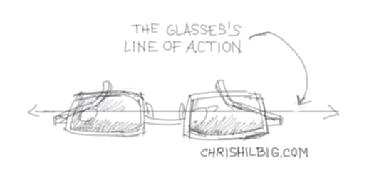 the line of action for a pair of eye glasses