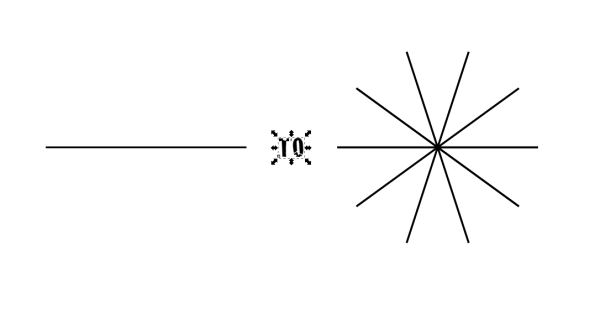 On the left, a basic 2 point path. On the right, a path cloned and spun in Inkscape.