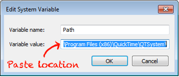 Paste Gimp's location in your System Variable window.