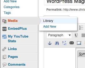 Where in WordPress to find the link to the media library