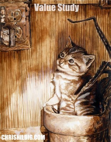 Final value study of Kitten in Pot