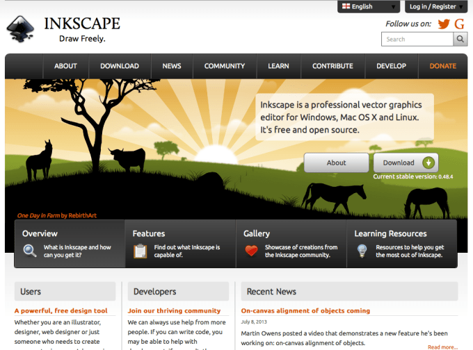 Screen shot of inkscape.org website