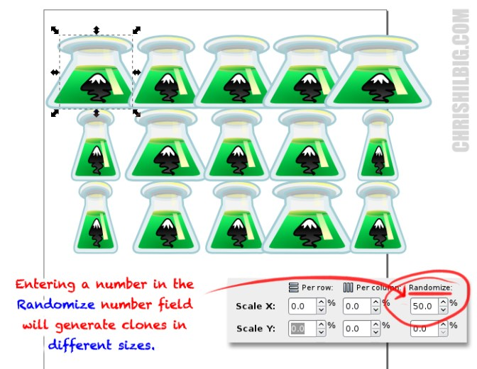 Entering a number in the Randomize number field will generate clones in different sizes.