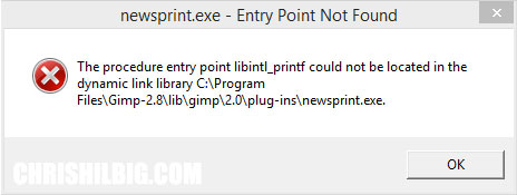 The procedure entry point libintl_printf could not be located in the dynamic link library