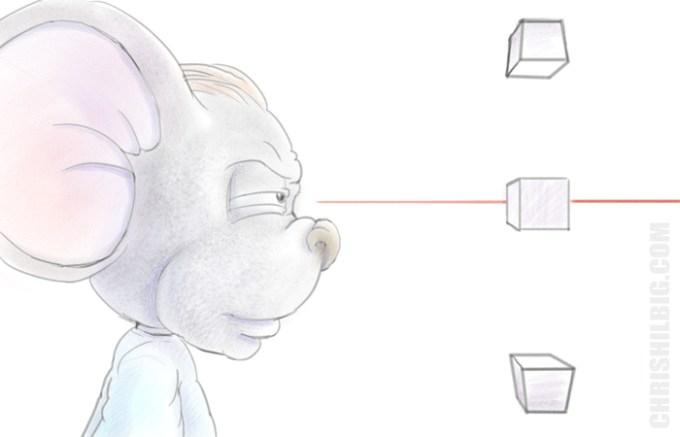 Willard Mouse staring at cubes across horizon line.
