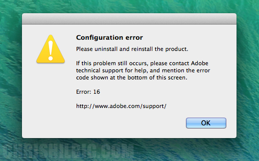 Configuration error 16 dialogue box that appears in Mac OS X in a User account