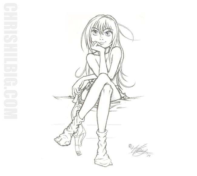 Anime girl demonstrating foreshortening