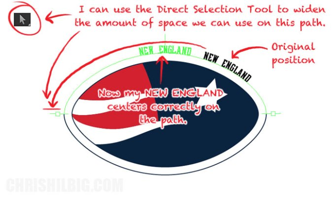 I center my text on path using the direct selection tool