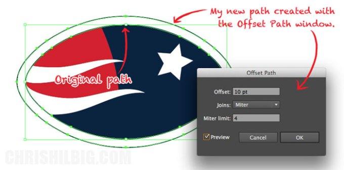 I created a new path via Offset Path window
