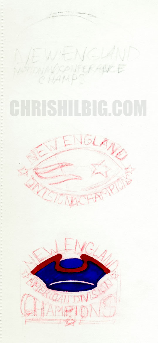 scan of sketches for Pats t-shirt design