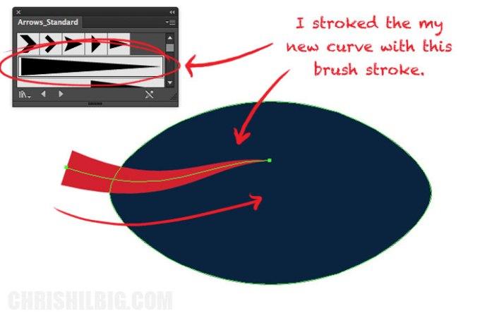 Stroking my curve using an arrow-shaped stroke