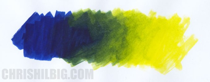 A gradation from Royal Blue to Brilliant Yellow using only those two pigment markers