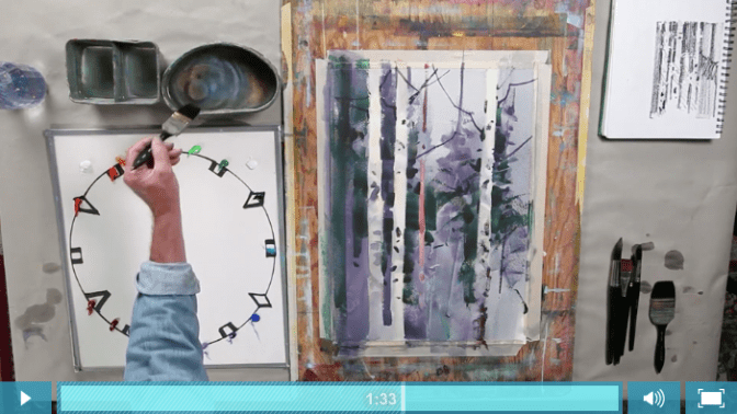Screen Shot of Stephen Quiller painting int watercolor and gouache
