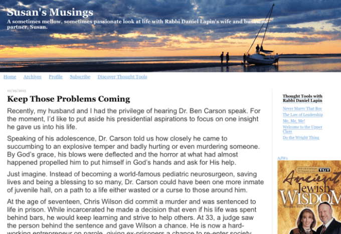 Screen shot of Susan Lapin's blog