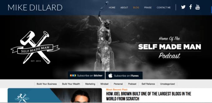 Screen shot of Self Made Man blog