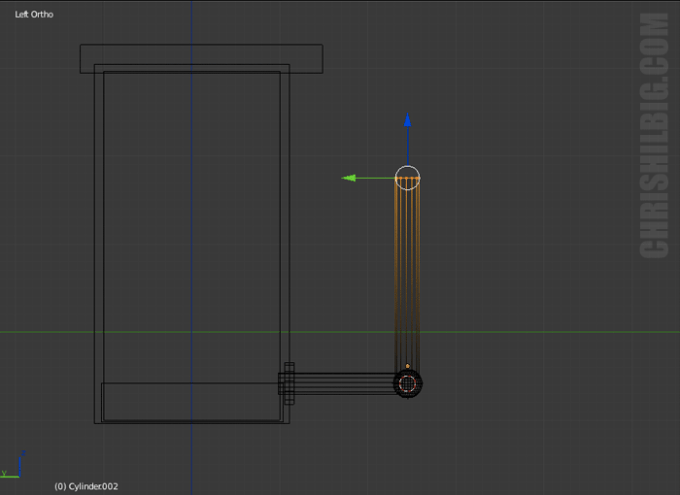 A screen shot of modeling in Blender 3D.