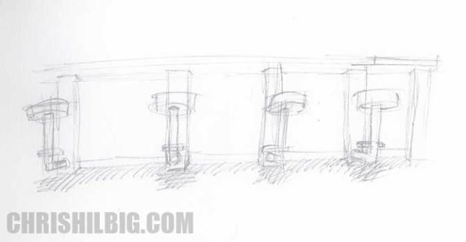 Chris Hilbig's sketch of a bar