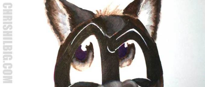 Step 2: I layer Royal Blue on top of the Carmin red to create a deep purple in my raccoon's pupils.