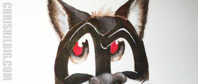 I color both of the raccoon's pupils in with Carmine (Red) marker.