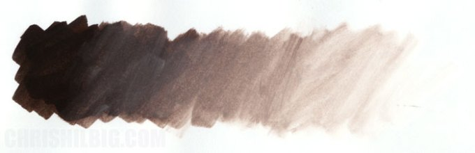 A gradation created using the colors Sepia and the White Blender on marker paper.