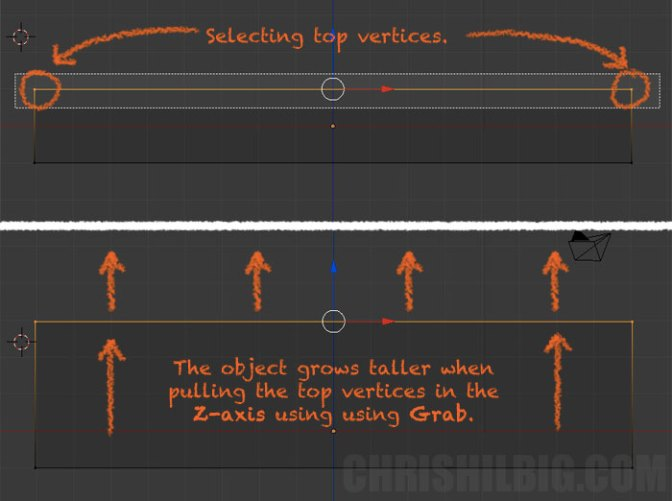 I can stretch my object up the Z-axis using the grab function.
