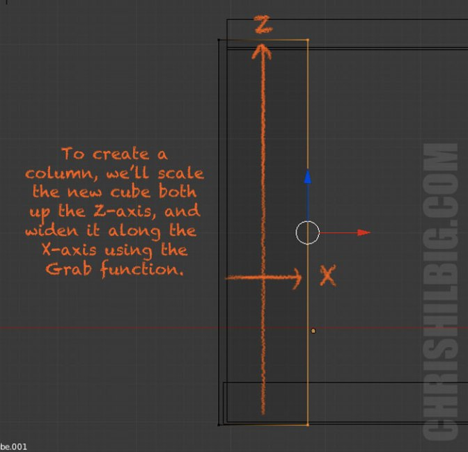 I create a column by stretching a new cube out along both the Z and X axises.