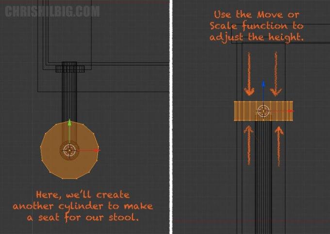 We'll create a seat via a new cylinder