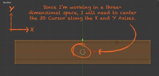 Center the 3d cursor along the Y & X-axis