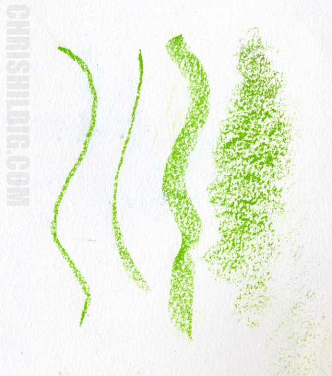 Sample marks that can be made using a Derwent Inktense block, in green.