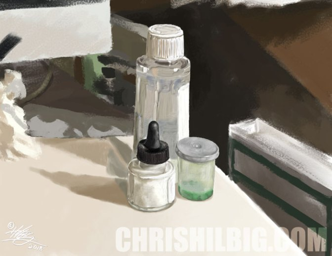 Sample still life using thick paint brushes in Corel Painter 2019.