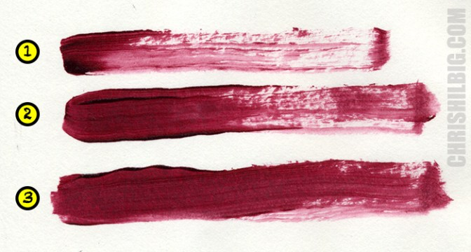 A photo of my stroke test using Golden Open acrylics. It takes 2 to 3 strokes to create a solid layer.