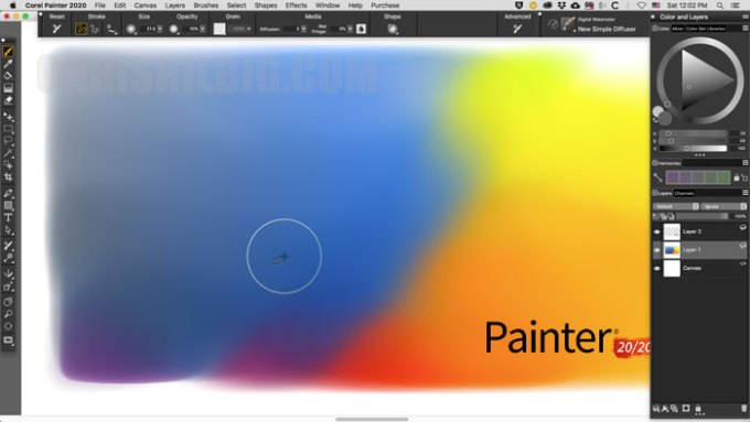 Corel Painter's Brush Accelerator test in action