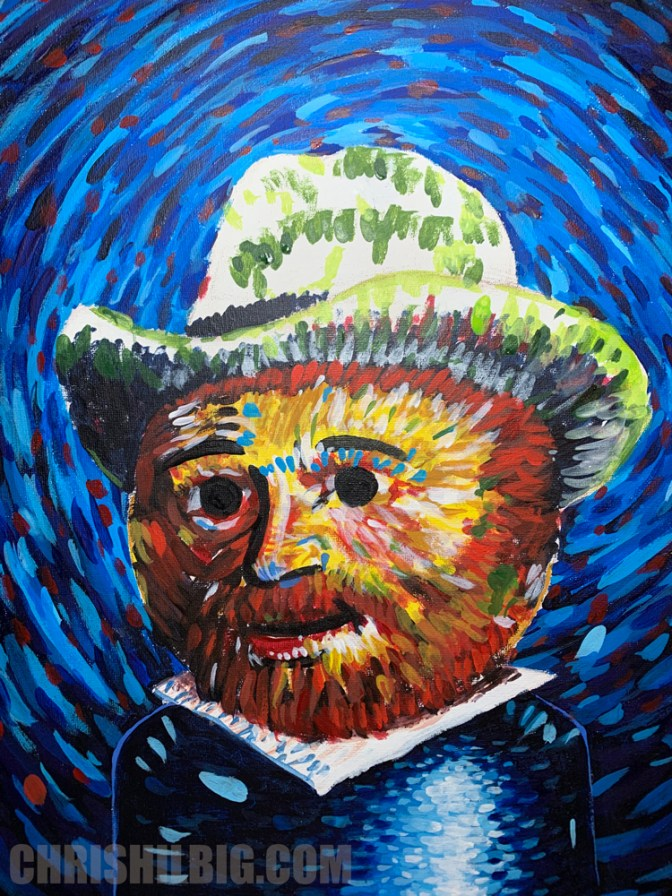 I started the hat on weeble van gogh with greens.
