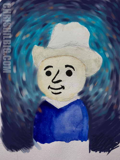 Rough of Little Van Gogh painted in Corel painter. The background was painted first.