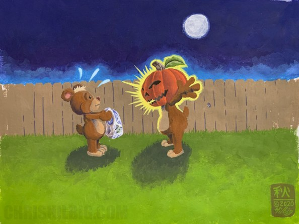 """""""The Pumpkin King Returns"""" Copyright 2020 Chris Hilbig — Little bear being scared by bigger bear with a pumpkin on his head."""