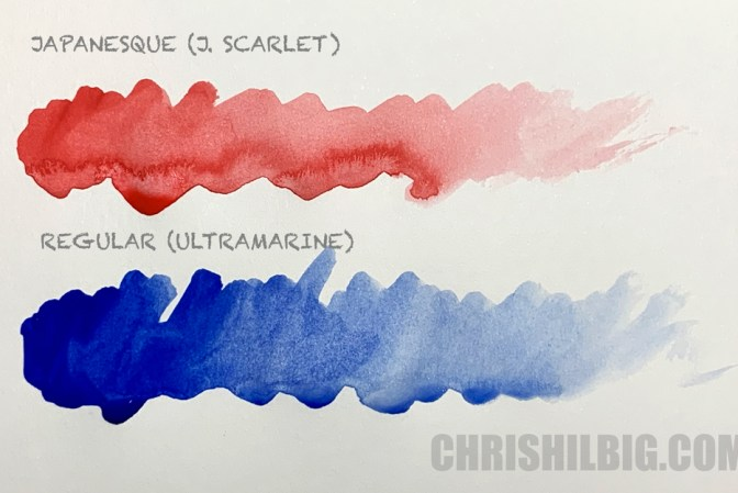 Sample washes of Turner Acryl Gouache using J. Scarlet and Ultramarine.