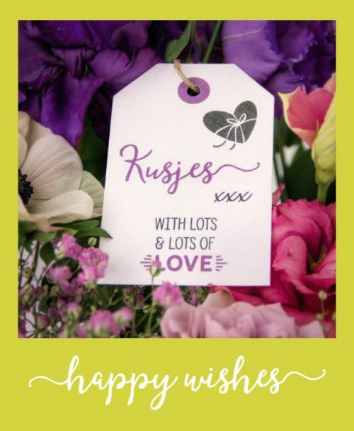 Happy Wishes Bloemenkaartjes