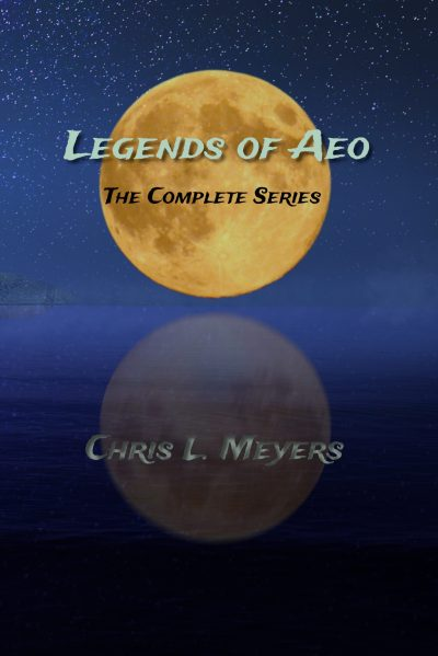 Legends of Aeo book cover with orange moon