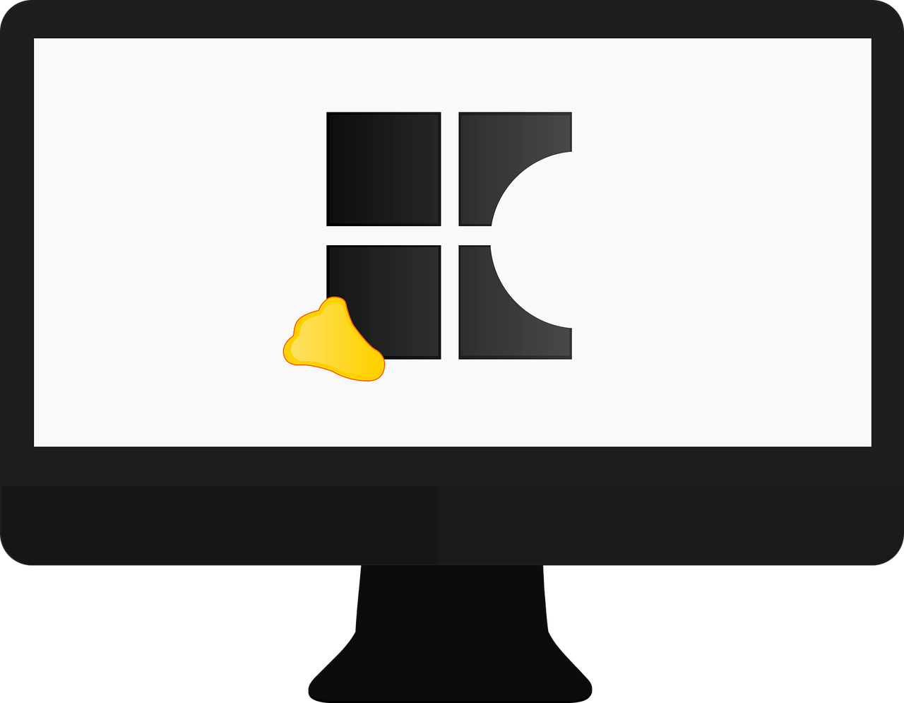 Monitor with bite out of windows